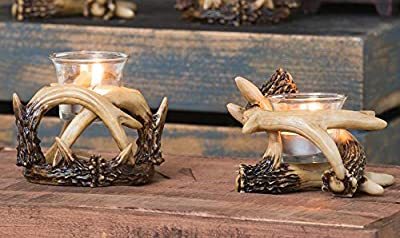 """Ebros Set Of 2 Wildlife Rustic Buck Elk Deer Stag Entwined Antlers Votive Candle Holder Accent Figurines 5""""Wide Nature Lovers Hunters Cabin Lodge Country Home Decorative Antler Candleholders"""