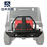 jeep bumper rack - opar 2007-2018 Jeep JK Rear Bumper w/Oil Drum Rack Bar & Spare Tire Carrier for Wrangler JK & Wrangler Unlimited