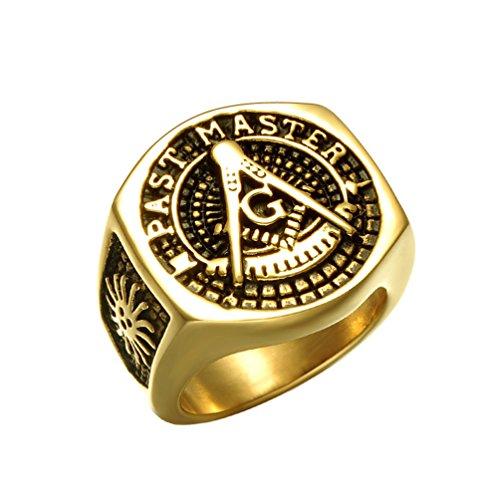 EZSONA Men's Stainless Steel Past Master Masonic Freemason Gold Stone Ring Size - Master Past Steel