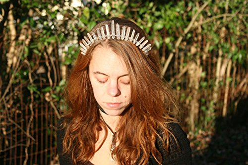 Blushing Blossom Rose Aura Quartz Crystal crown, raw crystal headpieces by Heather Feather's Design