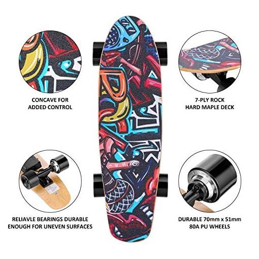 Hanico E-Cruiser Skateboard Électrique avec Télécommande, 7 Couches de Longboard Électrique en Érable, 20KM/H Max, Moteur 350W, E-Skateboard pour Adulte, Adolescent, Enfant