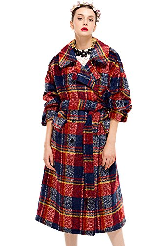 Double Breasted Plaid Coat - 9