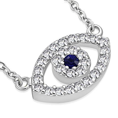 925 Sterling Silver Evil Eye Hamsa White Blue CZ Womens Pendant Necklace