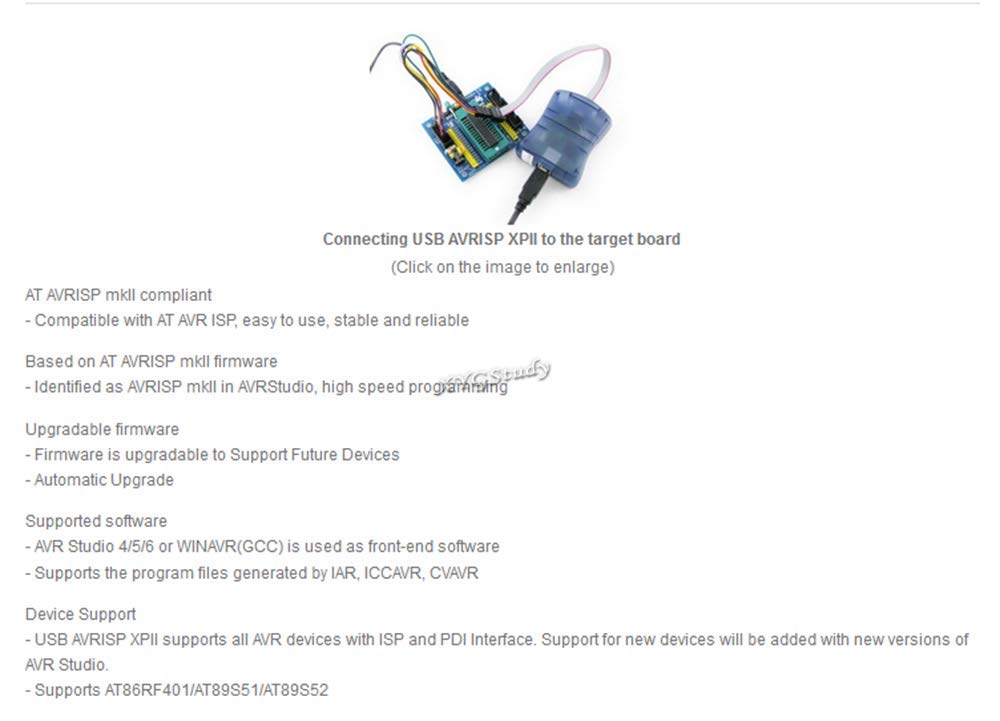 Compatible Atmel AT AVRISP mkII AVR ISP mk2 USB MCU AVR XMEGA In-System  Programmer Studio 4/5/6 ISP PDI interface @XYGStudy