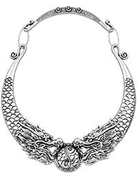 Womens Antique Silver Color Dragon Pattern Choker Chunky Bib Statement Necklace 50cm