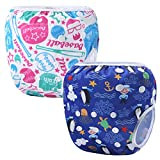 Martofbaby Reusable Swim Nappy Baby Blue Cloth Diapers 2 Pcs Ajustable Swimming Pants 0-3 Years