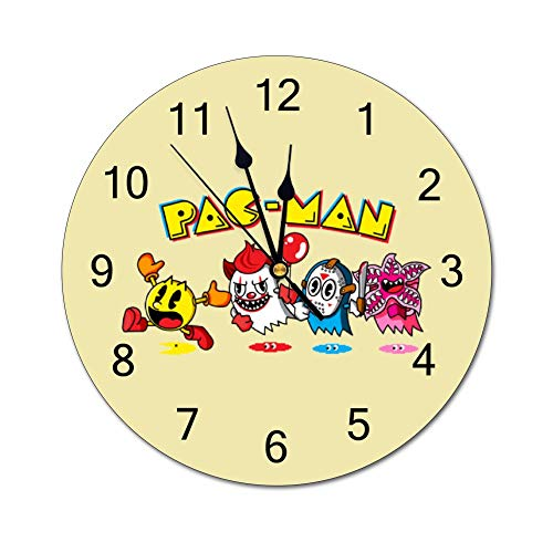 Pacman Goes to The Movies 10 inch Wall Clock, Silent, Graduated Battery Power, Suitable for Home Office and School use