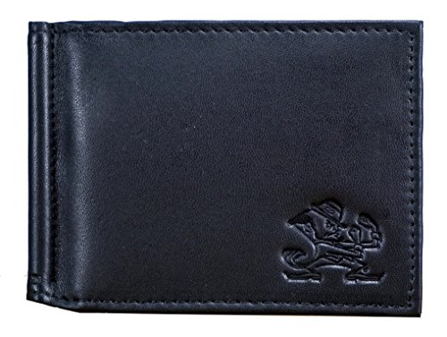 - Notre Dame Fighting Irish NCAA RFID Blocking Shield Black Leather Moneyclip Wallet