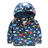 Little Boys Casual Trendy Dinosaur Zipper Hoodies Jacket Outerwear (120US 5T), Navy)