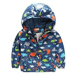 Little Boys Casual Trendy Dinosaur Zipper Hoodies Jacket Outerwear (90(US 2T), Navy)