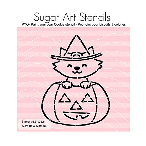 Halloween pumpkin cat PYO cookie stencil paint your own NB900836]()