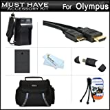 Must Have Accessory Kit For Olympus E-PL5 Interchangeable Lens Digital Camera Includes Extended Replacement (1400 maH) BLS-5 Battery + Ac/Dc Travel Charger + Mini HDMI Cable + USB 2.0 Card Reader + Case + Mini Tabletop Tripod + Screen Protectors + More