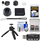 REMOVU K1 Microphone Accessory Kit with 2 Windscreens, Charging Cradle, Lens Cover, Strap, LCD Protector & Cloth + Tripod + Kit