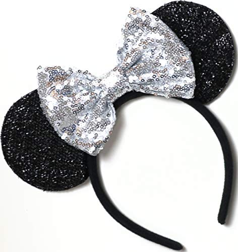 CL GIFT Silver Mickey Ears, Sparkly Mickey Ears, Silver Minnie Ears, Rainbow Ears, Minnie Ears, Rose Gold Mickey]()