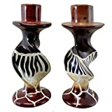 Stoneage Arts Handmade Animal Stripes on Bold Twists Soapstone Pair of Candleholders (Kenya)