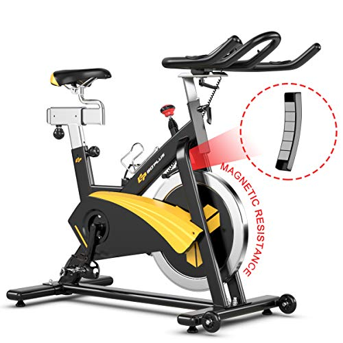 Goplus Magnetic Exercise Bike, Stationary Belt Drive Bicycle, with LCD Monitor, Indoor Cycling Bike for Home Gym Cardio Workout (30 lbs Flywheel) Superbuy