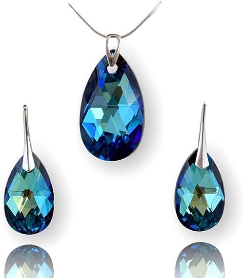 Crystals & Stones Parure de bijoux pour femme en argent 925 avec cristaux  Swarovski Elements – Magnifiques boucles d'oreilles et collier avec boîte  ...