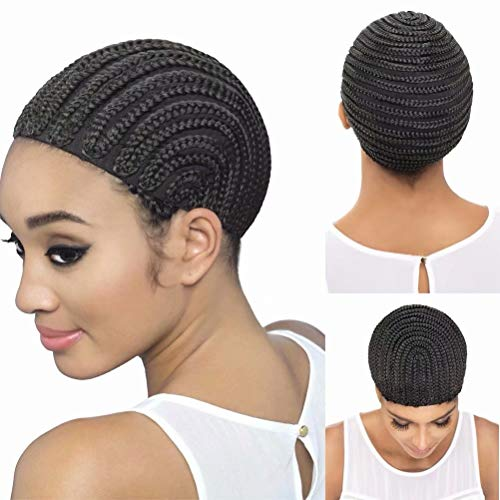 Feel Me Braided Cap Made for Crochet Braids or Hair Weaves 1 Piece Crochet Braided Wig Caps in Cornrow Sew Hair for Making Wigs Easier Sew In Caps Making Wig (Hair Braided To The Side With Weave)