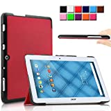 Infiland Acer Iconia One 10 B3-A10 case, Ultra Slim Tri-Fold Shell Case Cover for Acer Iconia One 10 B3-A10 10.1-Inch Tablet Only (Acer Iconia One 10 B3-A10, Red)