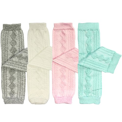 Wrapables Cable-Knit Baby Leg Warmers Set of 4, Gray, White, Pink, Sky Blue