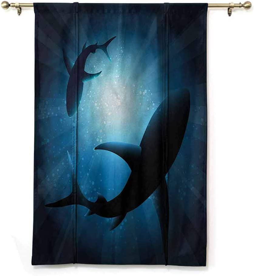 HouseLookHome Blackout Curtain Panels Modern Light Block Curtain Drape Cartoon of a Colored Fish for Bathroom Rod Pocket Panel 23 W x 63 L