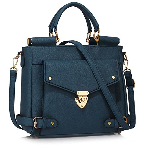 Top 237 navy Meeting Size Sale Satchels A Leahward Business Clearance Faux Handle Handbags Office Large Leather FHZqg
