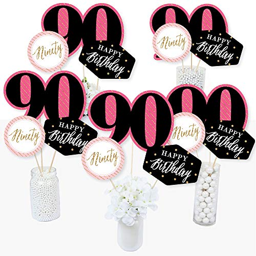Chic 90th Birthday - Pink, Black and Gold - Birthday Party Centerpiece Sticks - Table Toppers - Set of 15 ()