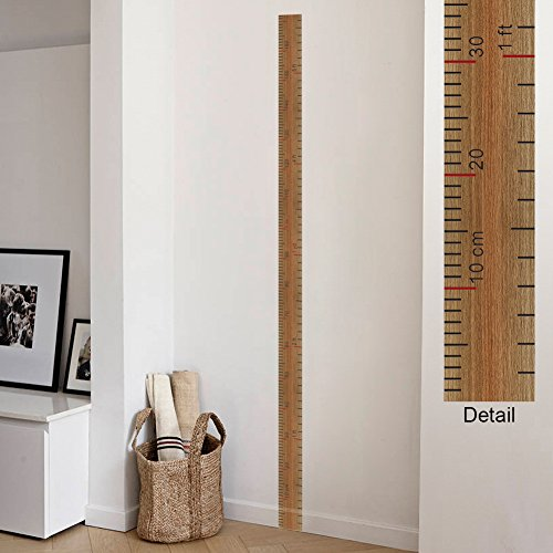 VanBest Ruler Wall Sticker Growth Height Chart Measuring Height Removable Wall Decal Children Kids Baby Home Room Nursery DIY Wallpaper Mural Art Decoration