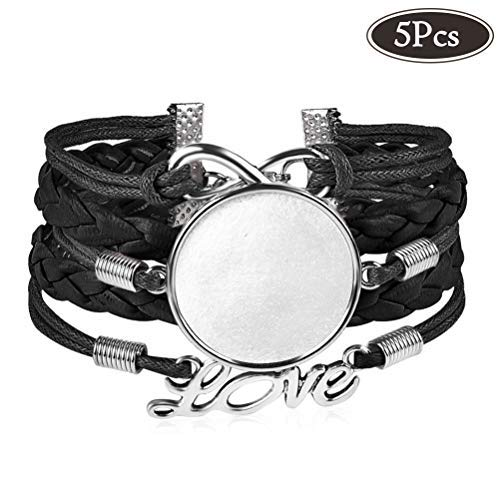 25mm Multilayer Blank Bracelets with Round Bezels Trays Cabochon for Jewelry Making Black Adjustable Bangles Fit 1