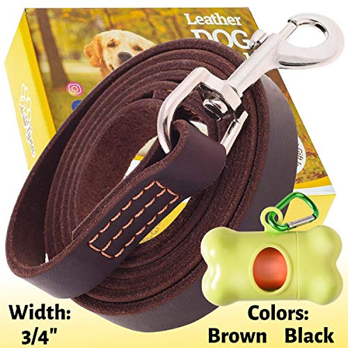 ADITYNA Leather Dog Leash 6 Foot x 3/4 inch - Genuine Leather Leashes for Walking and Training - Brown & Black (L - 6 ft x 3/4', Brown)