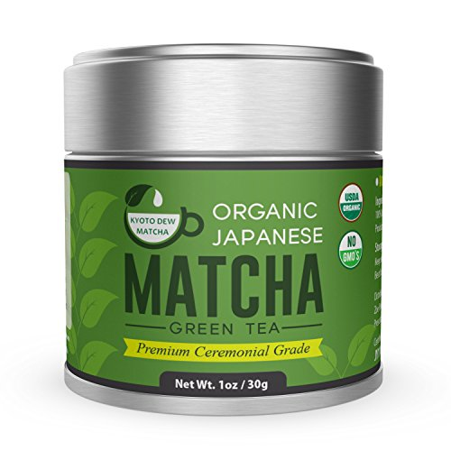 Organic Matcha Green Tea Powder [USDA] - Premium Ceremonial Grade - from Japan 30g [1.06oz] by Kyoto Dew (Japan Tin)