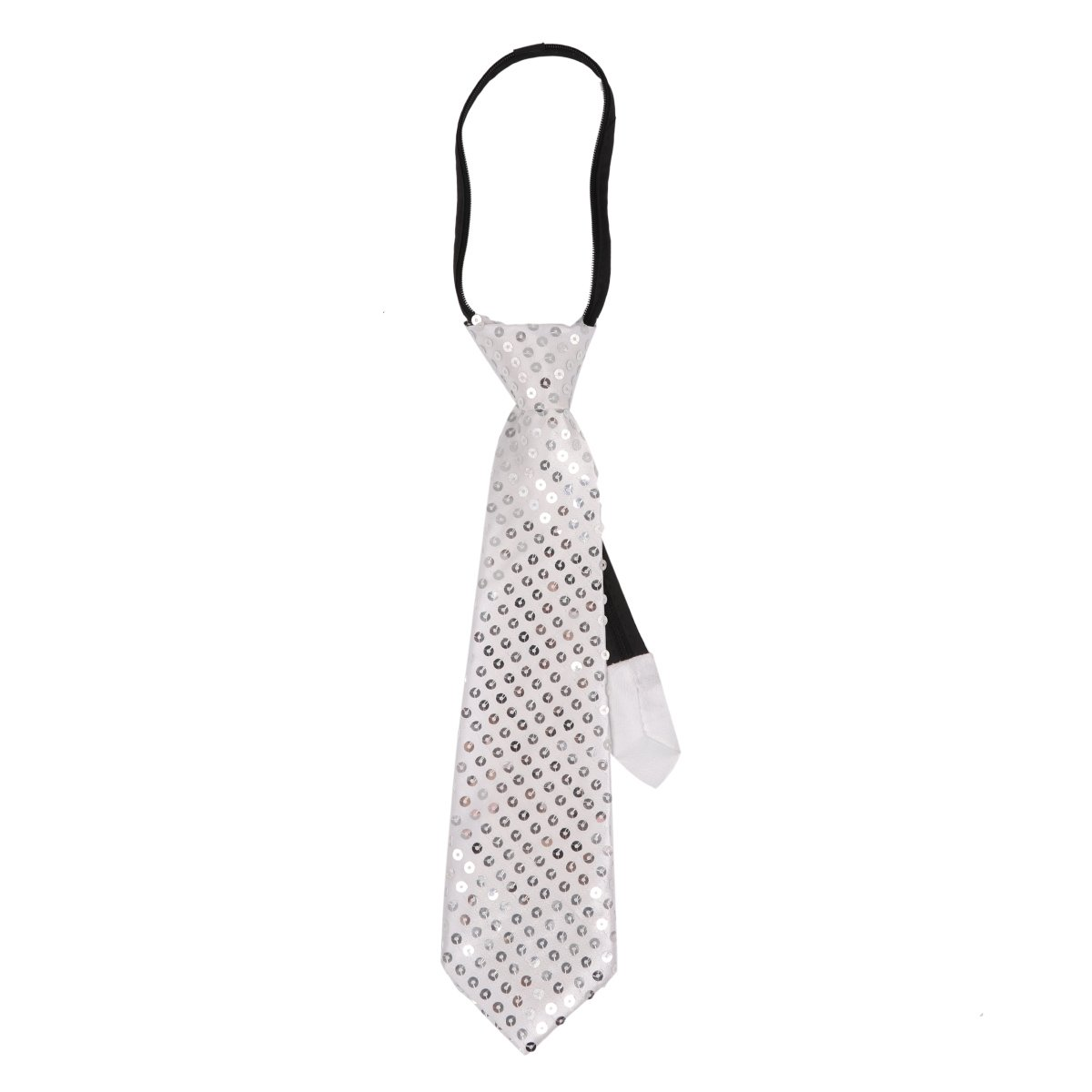 FEESHOW Sequin Pre-tied Tie Necktie with Adjustable Zipper for Party Costume Magic Show Silver One Size