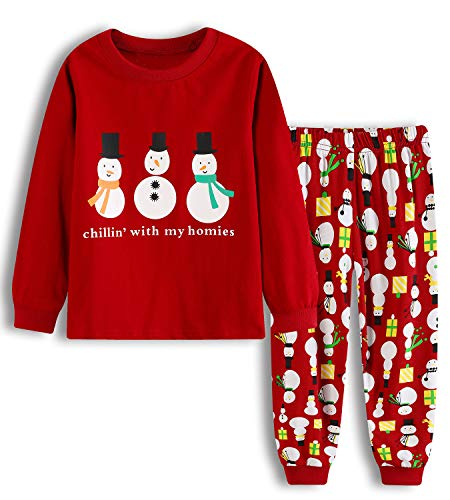 lymanchi Girls Christmas Pajamas Toddler Kids Santa Long Sleeve Cotton PJS  Set Sleepwear 2-7T 1f8e03ac5