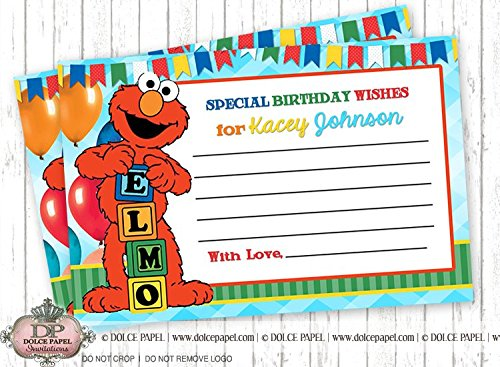 10 ELMO WISH CARDS 2nd Birthday Party ANY AGE Wish Cards In 4x6 Elmo Favor