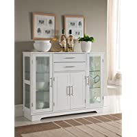 Kings Brand Kitchen Storage Cabinet Buffet With Glass Doors, White