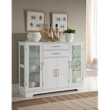 Kings Brand Kitchen Storage Cabinet Buffet With Glass Doors White