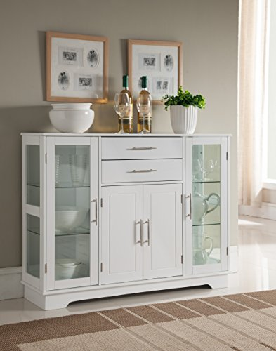Kings Brand Furniture VD60366HW Kitchen Storage Cabinet Buffet with Glass Doors White
