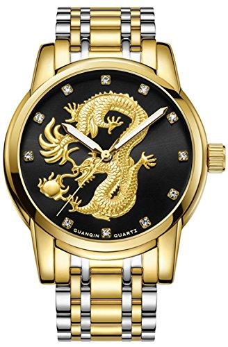 - Mens Dress Watches Gold Dragon Sculpture Quartz Wristwatch Men Two Tone Stainless Steel Bracelet Watches (Black)