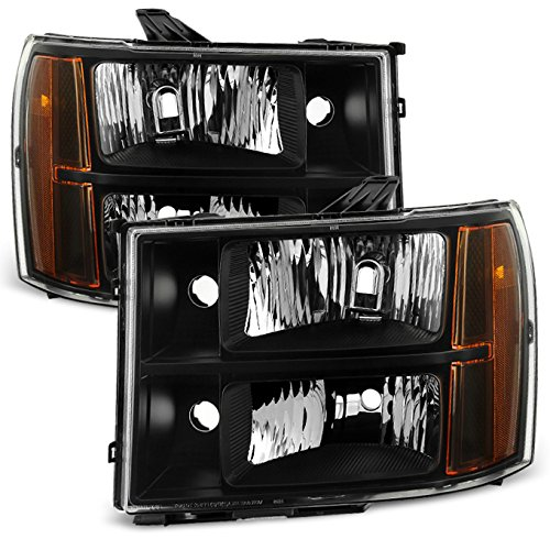 For Black 07-13 Sierra 1500 07-14 Sierra 2500HD 3500HD Headlights Front Lamps Direct Replacement Pair