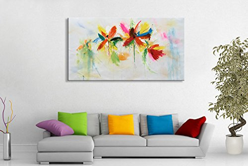 Seekland Art Hand Painted Large Abstract Floral Canvas Wall Art Modern Flower Oil Painting Colorful Picture Decor Contemporary Artwork for Living Room Framed Ready to Hang ( 60''W x 30''H) by Seekland Art