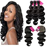 SHACOS Grade 7a Brazilian Body Wave Virgin Human Hair Extensions 1pc Lace Closure with 3pcs Bundles Natural Black Hair Extension Weft (16″18″20″+12″hair closure) For Sale
