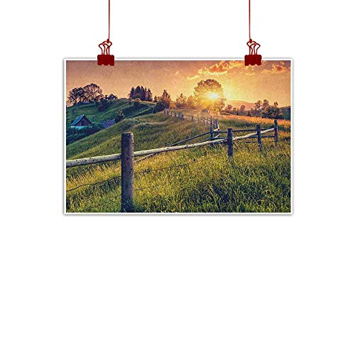 Anyangeight Wall Painting Prints Europe,Morning Sunbeams Over Countryside Farmhouse Colorful Sky Carpathian Ukraine, Fern Green Yellow 32
