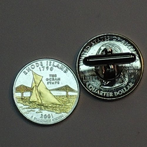 Rhode Island Statehood Quarter - Gorgeous 2 Toned(Uniquely Hand Done) Gold on Silver coin cufflinks for men - men's jewelry men's accessories for him groomsmen
