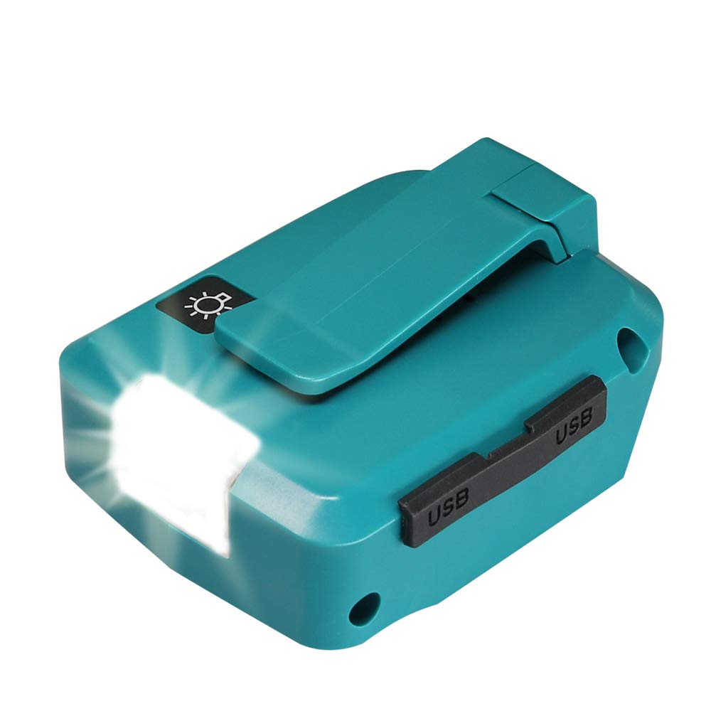 ADP05 18v USB Power Source for Makita Battery Converters 14.4v Lithium-Ion Batteries Adapter with 2 USB Ports and LED Light