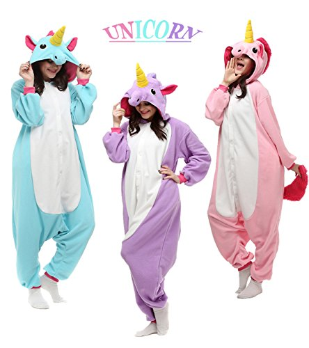 Unisex Adult Onesie Animal Kigurumi Unicorn Cosplay Halloween Pajamas Costume (M/L(Fit height:63