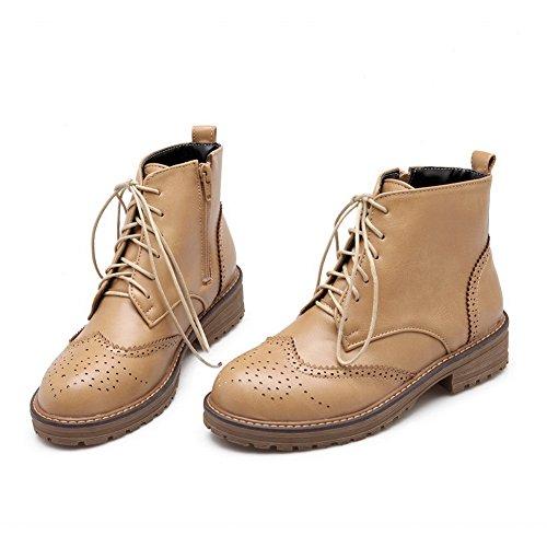 cuir de imité bottes en creuser pour rond AdeeSu léopard abricot bout un motif femmes air plein en wxXR67Z