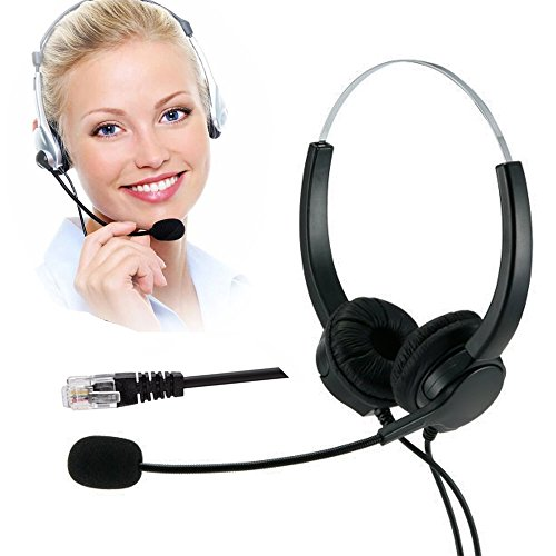 TelPal Hands-Free Call Center Noise Cancelling Corded Binaural Headset Headphone 4-Pin RJ9 Crystal Head Mic Mircrophone Desk Phone - Telephone Counseling Services, Insurance, Hospitals by TelPal