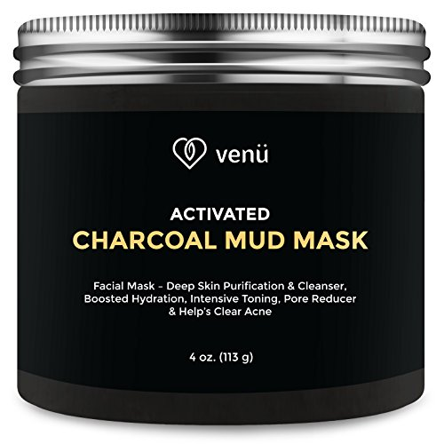 Activated Charcoal Mud Mask - All Natural Deep Skin Cleanser and Hydration Booster - Detoxifies and Purifies Face and Body - Acne and Pore Reducer - 4oz - By Venu