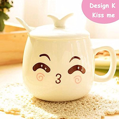 Money coming shop New Arrival Cartoon Personalized Expression Cups And Mugs Ceramic Cute Porcelain Tea Cup Coffee Mug With Lid + Spoon