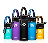 WaterFit Vacuum Insulated Water Bottle – Double Wall Stainless Steel Leak Proof BPA Free Sports Wide Mouth Water Bottle – Travel Straw Lid – 12oz 16oz 20oz – 5 Colors with Paracord Handle